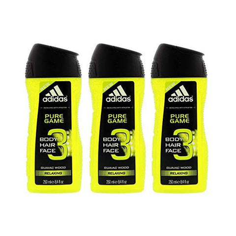 Daily Steals-Adidas Pure Game 3-in-1 Relaxing Shower Gel, Shampoo & Face Wash 8.4fl oz. - 3 Pack-Health and Beauty-