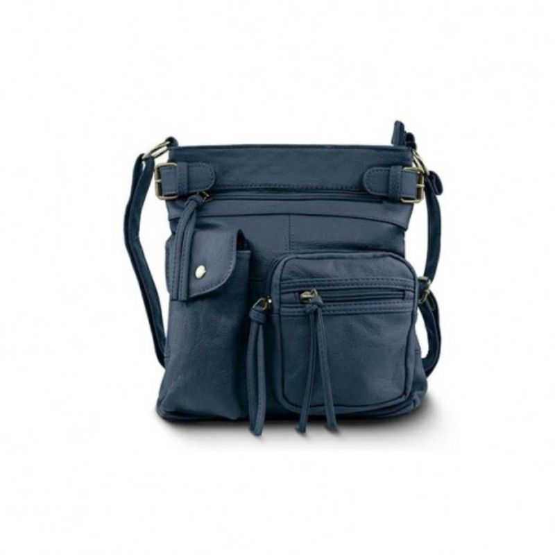 Super Soft Genuine Leather Top Belt Accent Crossbody Bag - 5 Colors-Navy-Daily Steals