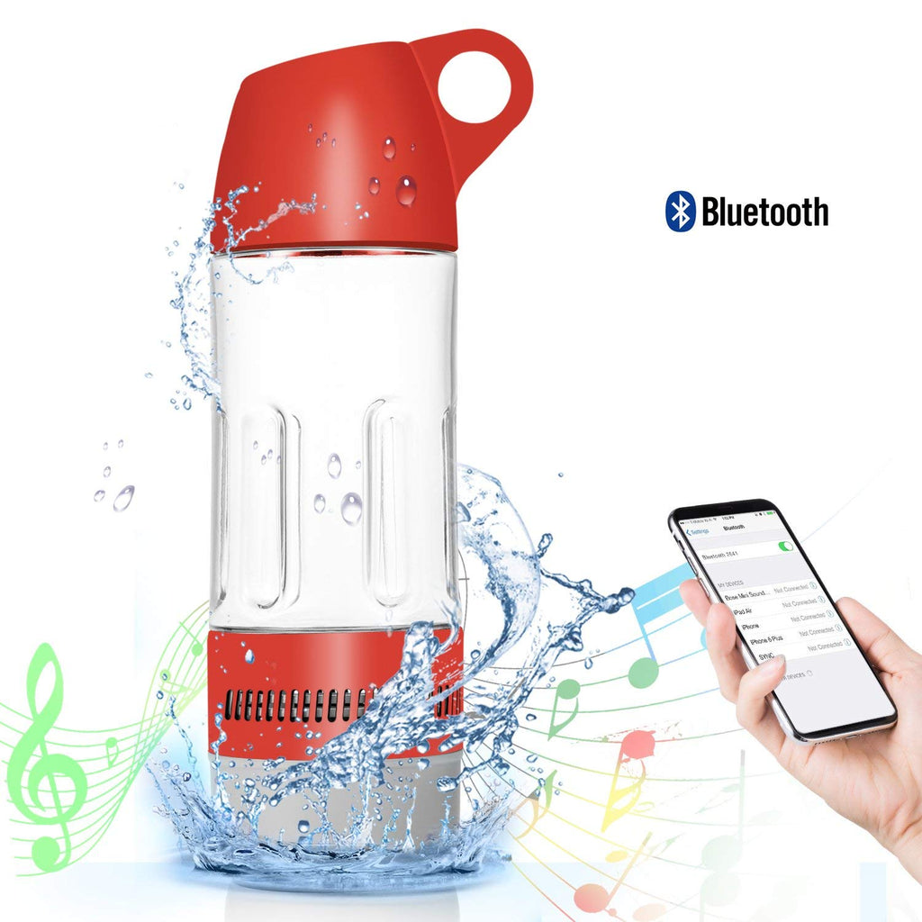 Daily Steals-Water Bottle with Built-in Bluetooth Speaker and Optional Power Bank-Speakers-Without Power Bank - Red-