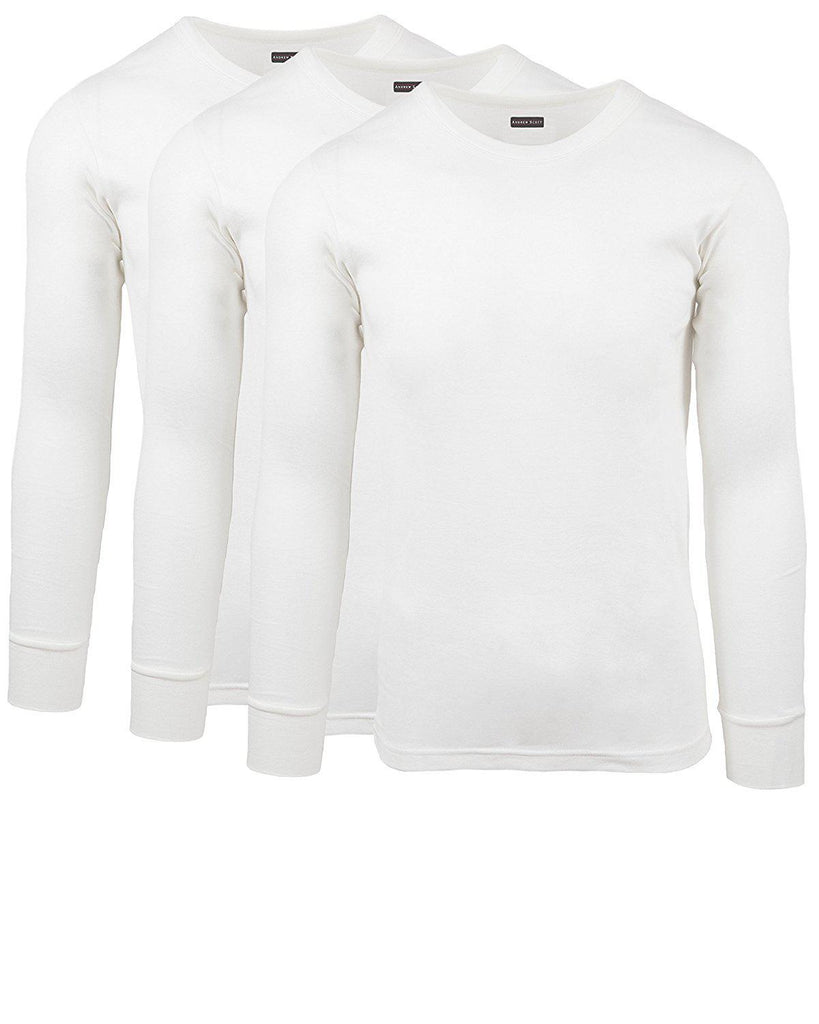 [3-Pack] Andrew Scott Men's Premium Cotton Thermal Shirt-White-S-Daily Steals