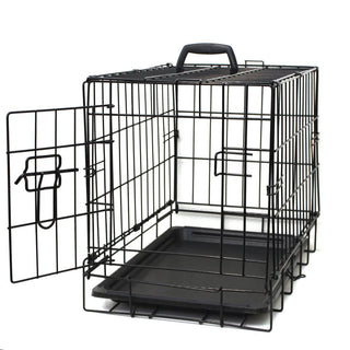 Oxgord Double Door Folding Dog & Cat Crate, Kennel with Tray, 20
