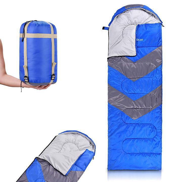 Sleeping Bag with Hood-Blue-Daily Steals