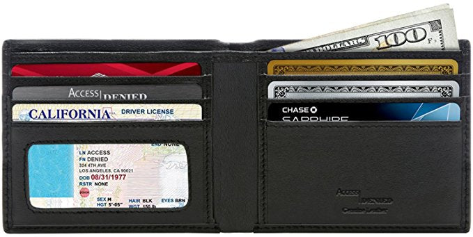 Genuine Leather Bifold Wallets For Men with RFID Blocking-Regular ID Window-Daily Steals