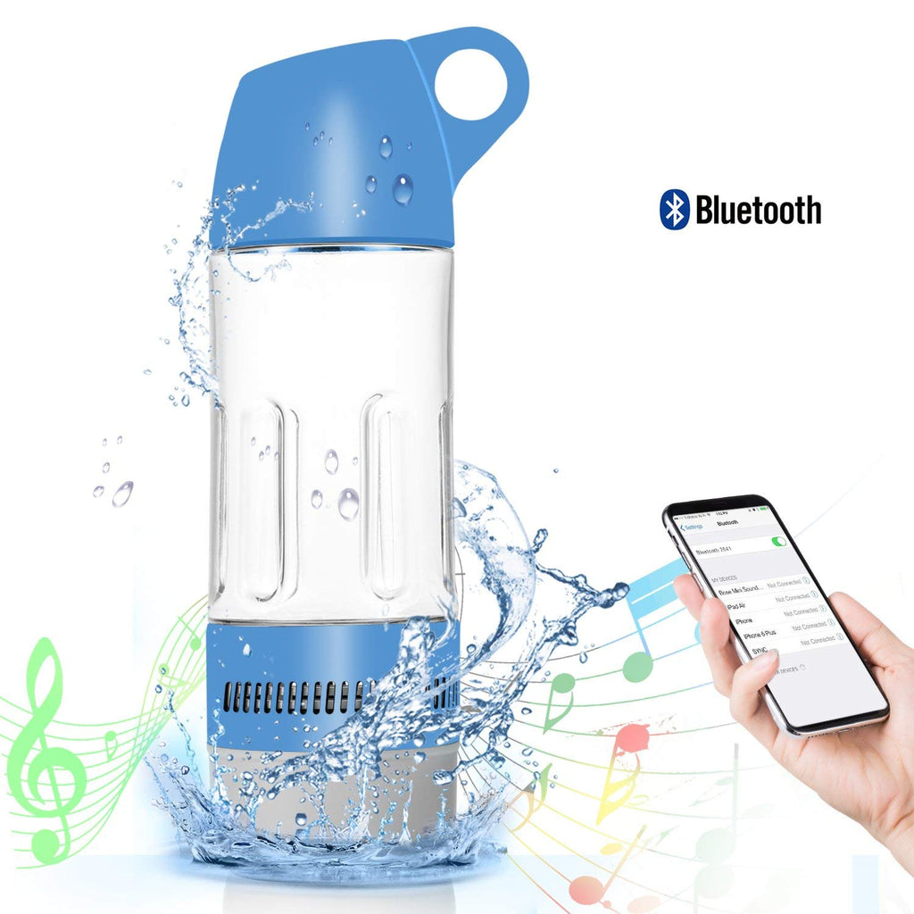Daily Steals-Water Bottle with Built-in Bluetooth Speaker and Optional Power Bank-Speakers-Without Power Bank - Blue-