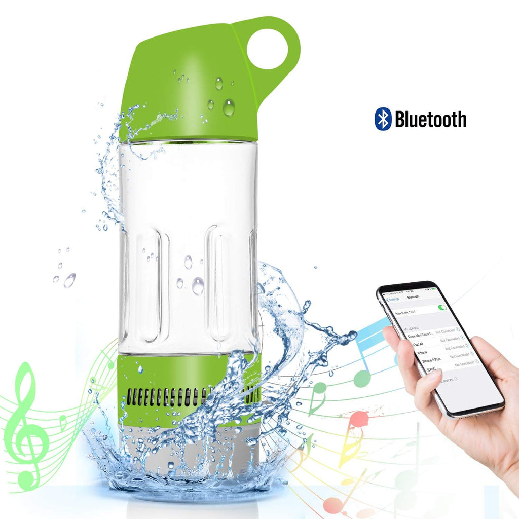 Daily Steals-Water Bottle with Built-in Bluetooth Speaker and Optional Power Bank-Speakers-Without Power Bank - Green-