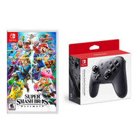 Nintendo Switch Pro Controller + Super Smash Brothers Ultimate Bundle