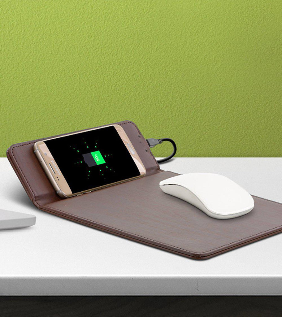 Aduro Wireless Charging Mouse Pad For All Qi Enabled Devices-Brown-Daily Steals