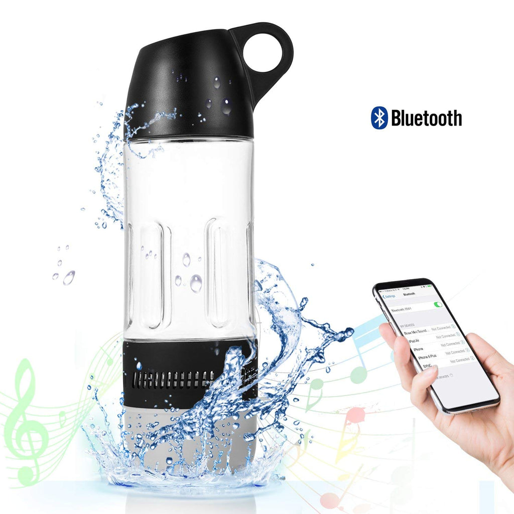 Water Bottle with Built-in Bluetooth Speaker and Optional Power Bank-Without Power Bank - Black-Daily Steals