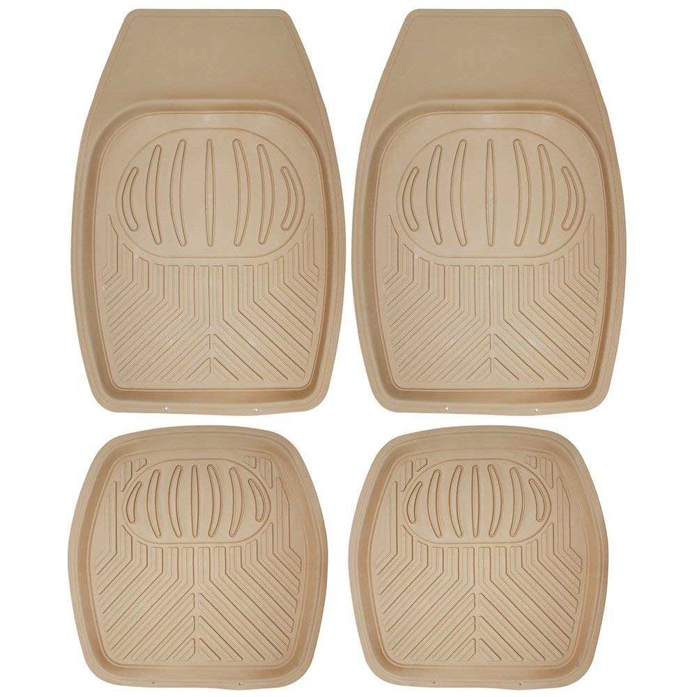 "[4 Piece] All Weather Heavy Duty Rubber """"Bear Claw"""" Floor Mats-Beige-Daily Steals"