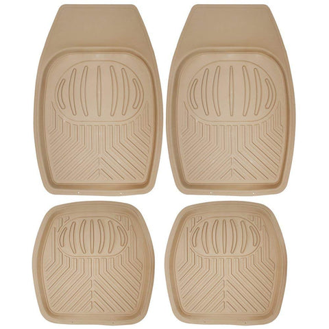 "Daily Steals-[4 Piece] All Weather Heavy Duty Rubber """"Bear Claw"""" Floor Mats-Home and Office Essentials-Beige-"