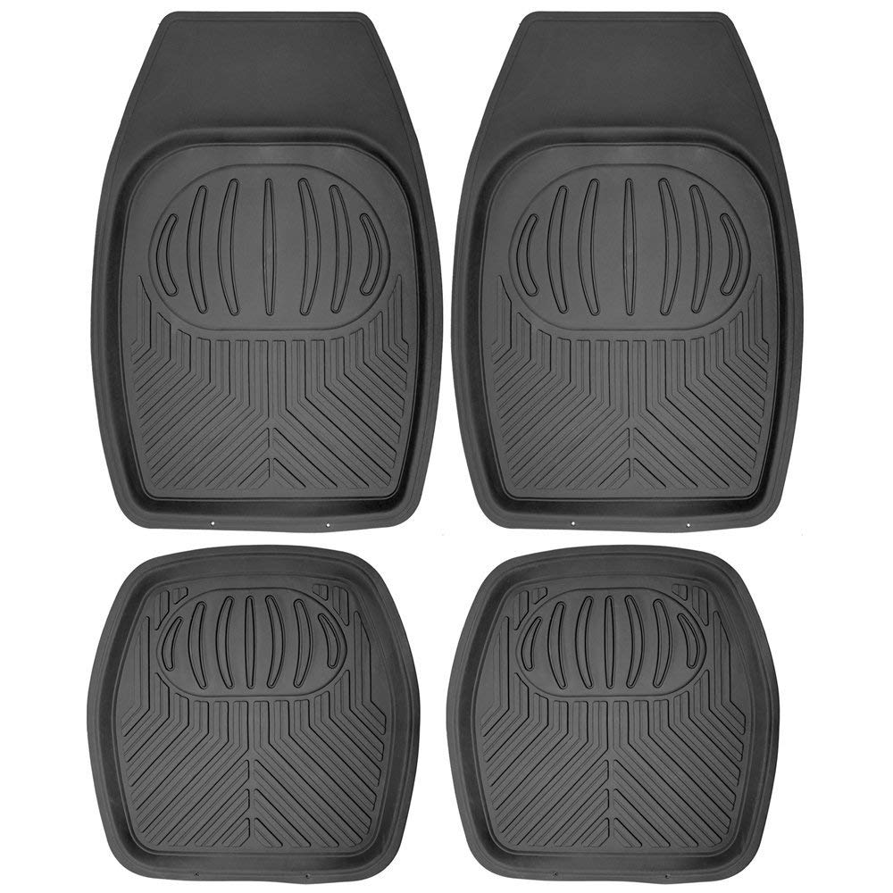 "Daily Steals-[4 Piece] All Weather Heavy Duty Rubber """"Bear Claw"""" Floor Mats-Home and Office Essentials-Black-"