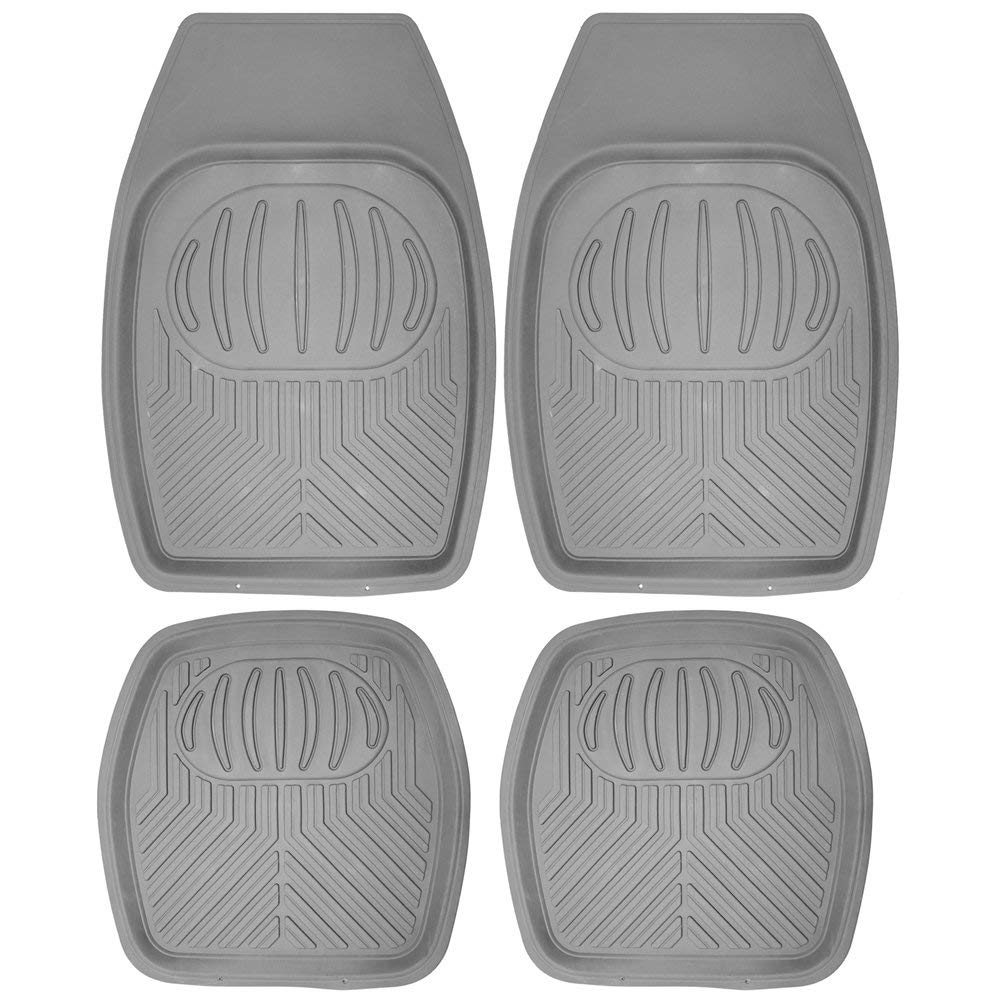 "Daily Steals-[4 Piece] All Weather Heavy Duty Rubber """"Bear Claw"""" Floor Mats-Home and Office Essentials-Gray-"