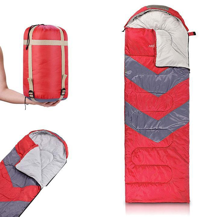 Sleeping Bag with Hood-Red-Daily Steals