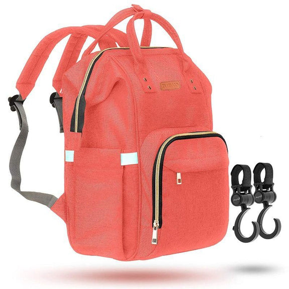 ZUZURO Diaper Bag Backpack - Multiple Pockets for Organization-Coral-Daily Steals