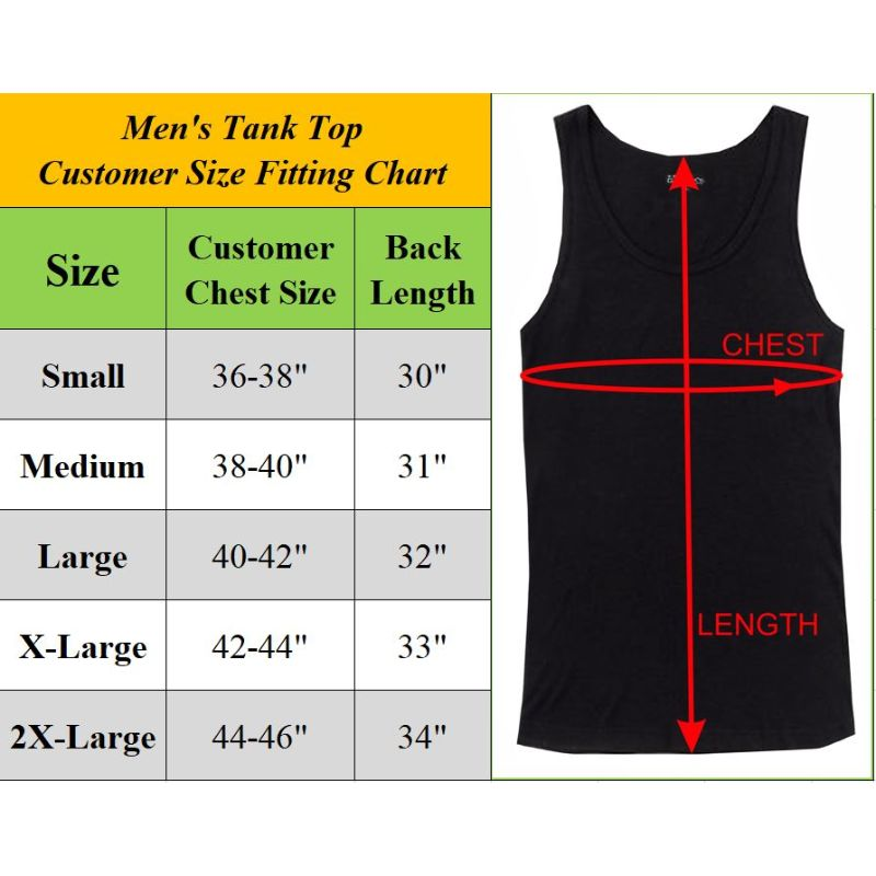 Men's Multi Pack Classic Stretch Tank Tops - 6 or 12 Pack