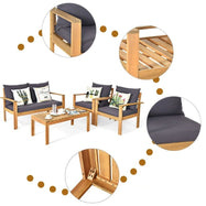 Outdoor Acacia Wood Conversational Set - 4 Piece-Daily Steals