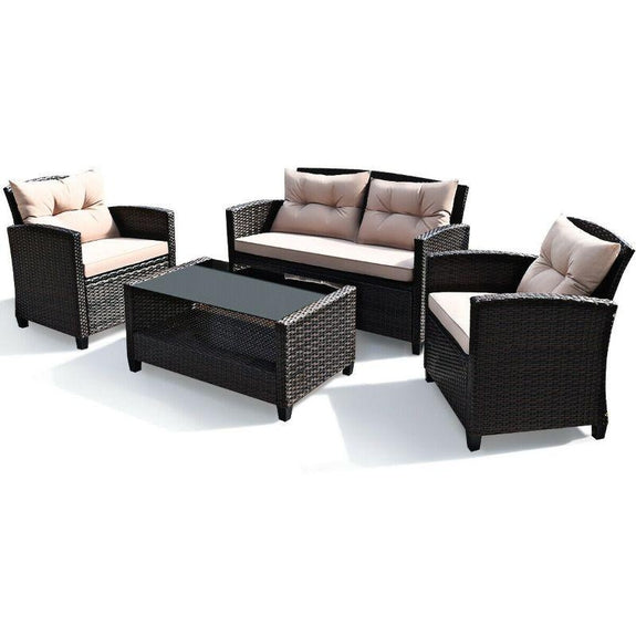 Outdoor Rattan Furniture Set With Table- 4 Piece-Daily Steals