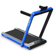 2 in 1 Folding Treadmill Dual Display with Bluetooth Speaker-Navy-Daily Steals