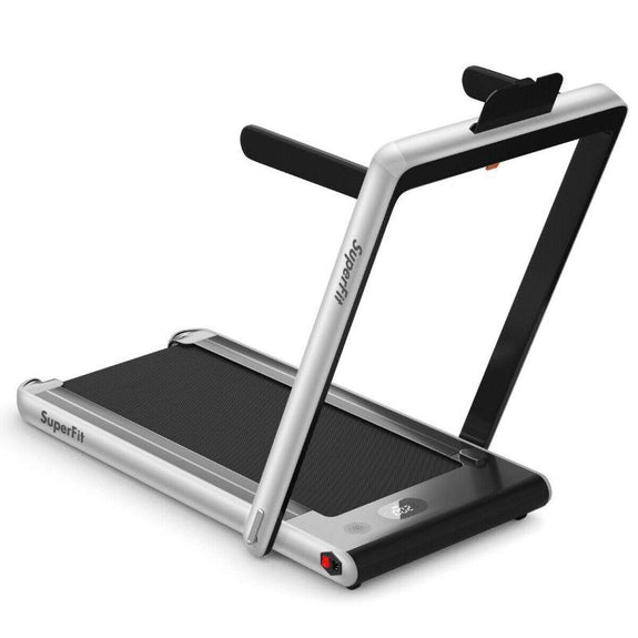 2 in 1 Folding Treadmill Dual Display with Bluetooth Speaker-Silver-Daily Steals