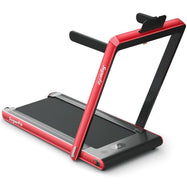 2 in 1 Folding Treadmill Dual Display with Bluetooth Speaker-Red-Daily Steals