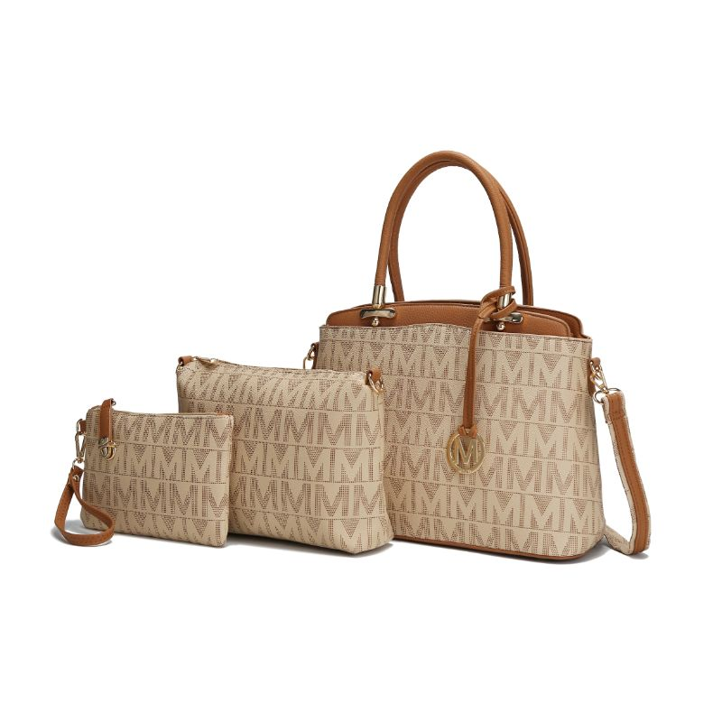 MKF Collection Monee Satchel, Crossbody Bag and Matching Wristlet-Beige-Daily Steals