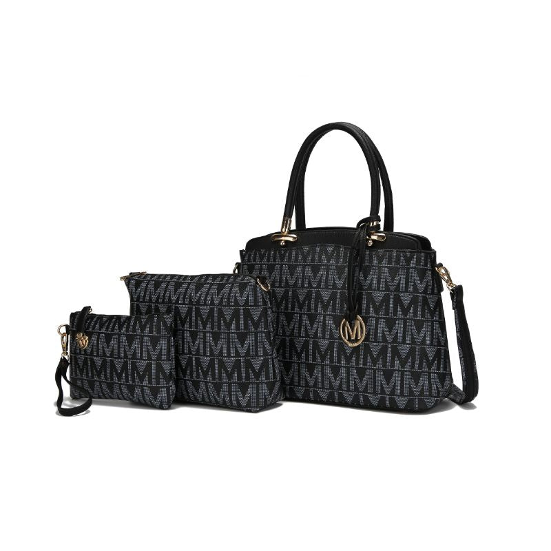 MKF Collection Monee Satchel, Crossbody Bag and Matching Wristlet-Black-Daily Steals