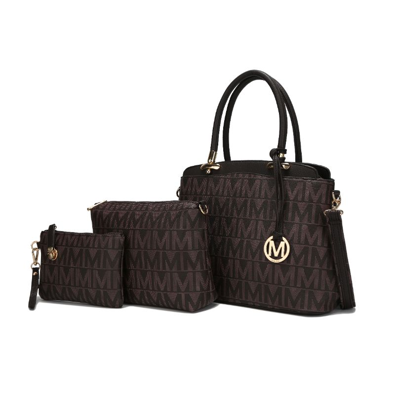 MKF Collection Monee Satchel, Crossbody Bag and Matching Wristlet-Chocolate-Daily Steals