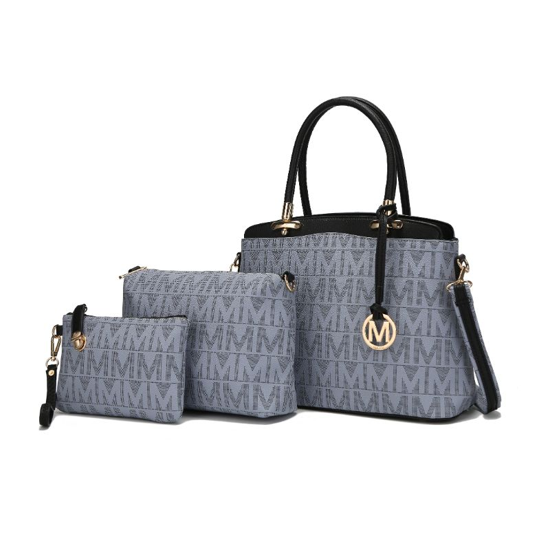 MKF Collection Monee Satchel, Crossbody Bag and Matching Wristlet-Grey-Daily Steals