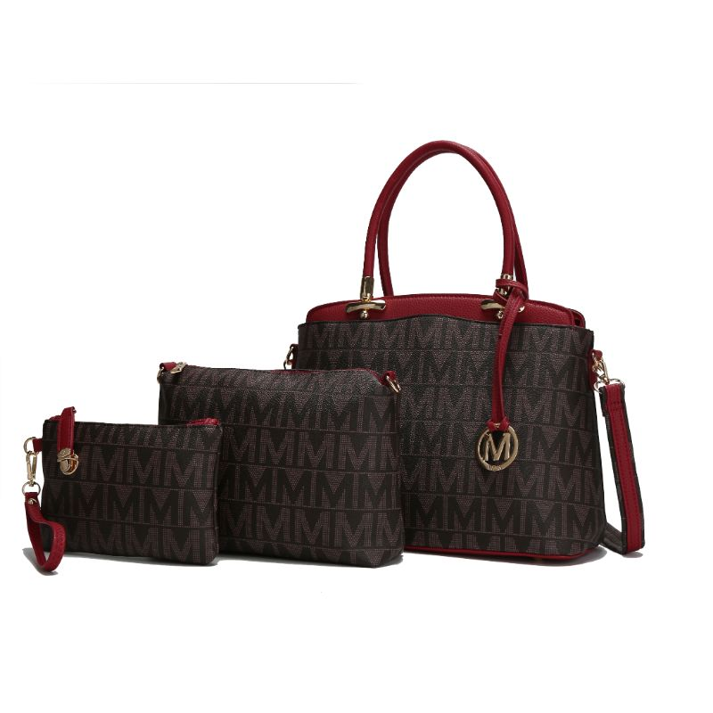 MKF Collection Monee Satchel, Crossbody Bag and Matching Wristlet-Red-Daily Steals