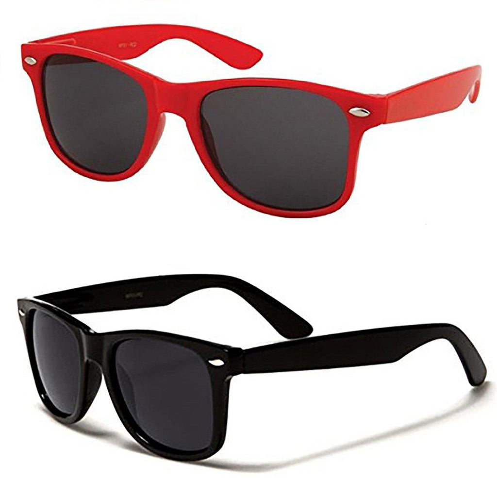 [2-Pack] Mechaly Wayfarer Style Sunglasses-Black & Red-Daily Steals