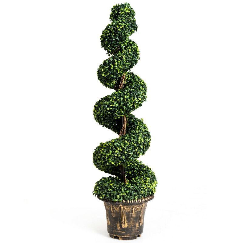 Artificial Boxwood Spiral Green Leaves Tree - 4 Feet-Daily Steals
