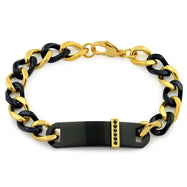 Men's Stainless Steel Gold and Black ID Chain Bracelet-Black and Gold-Daily Steals