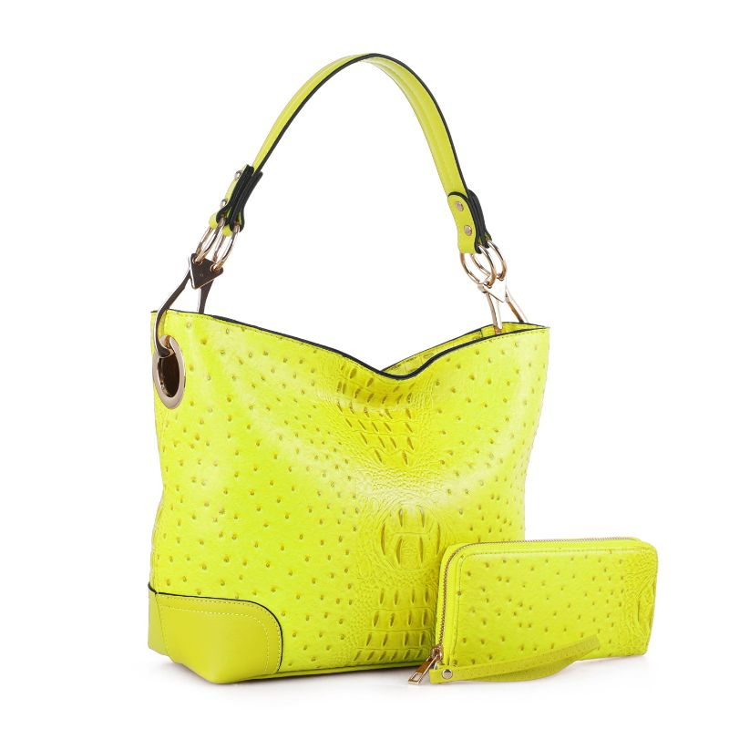 MKF Collection Wandy Hobo Sac à main et portefeuille assorti-Neon Green-Daily Steals