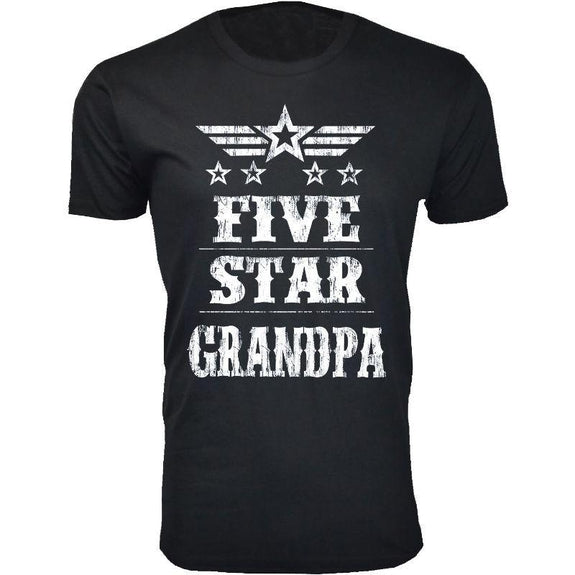 Men's Five Star Father's Day T-shirts-Grandpa - Black-S-Daily Steals