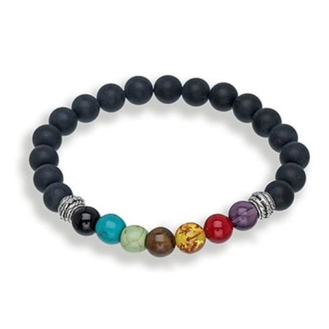 7 Genuine Chakra Healing Natural Stone and Obsidian Bead Bracelet