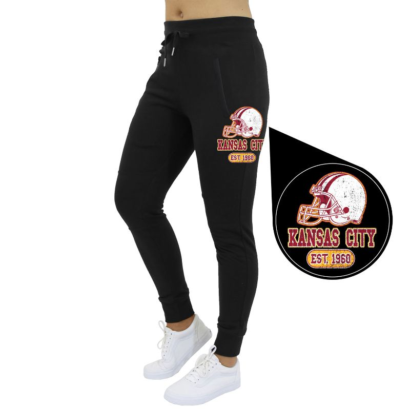 Women's Home Team Football Jogger Sweatpants-Kansas City - Black-S-Daily Steals