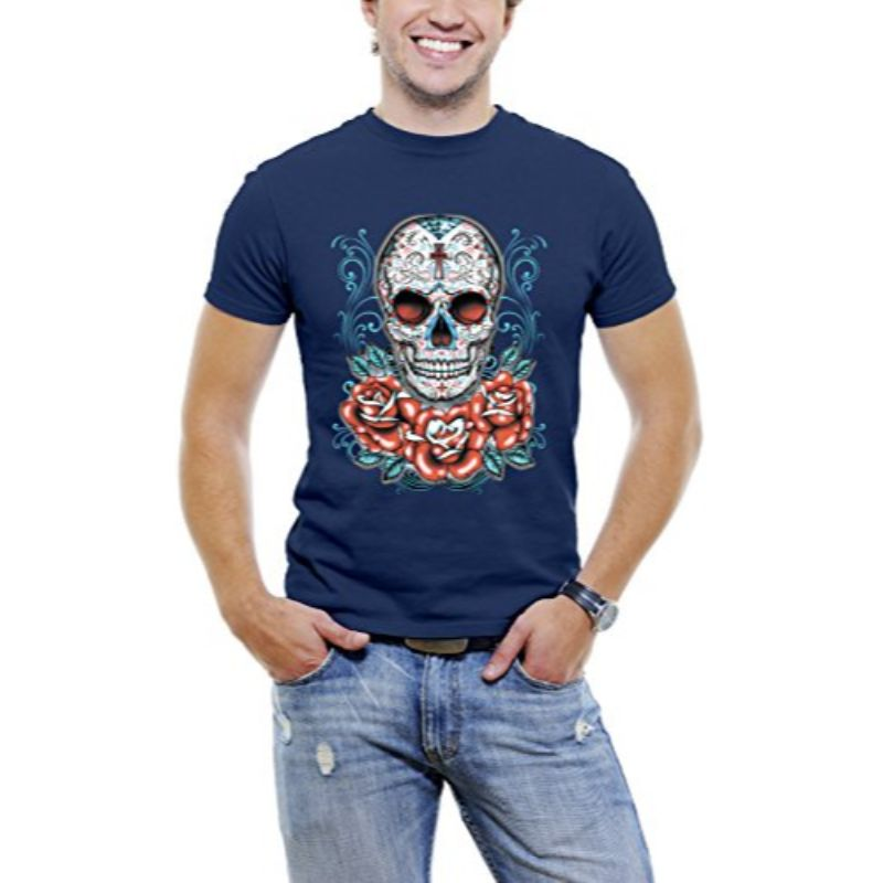 Skull Roses Tattoo - Men's T-Shirt-Navy Blue-3XL-Daily Steals