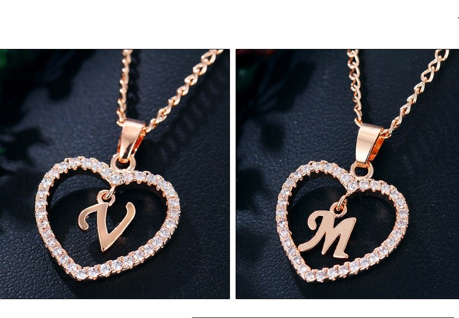 CZ Initial Heart Necklace-Daily Steals