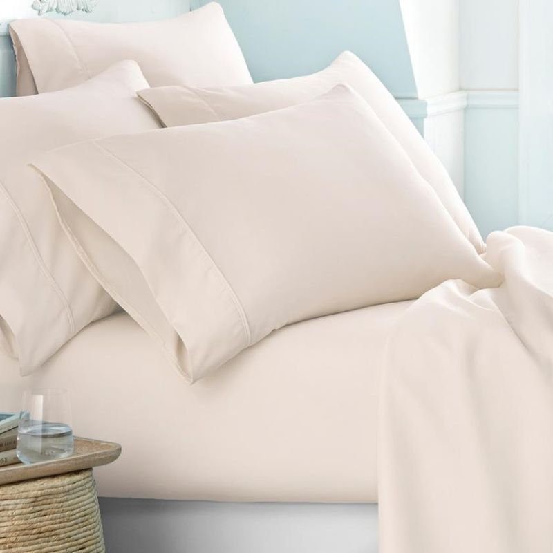 Microfiber Merit Linens Bed Sheets Sets - 6 Piece-Ivory-Twin-Daily Steals