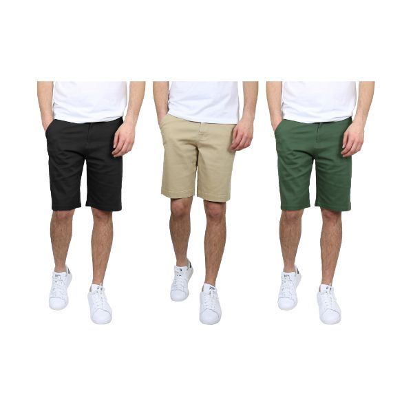 Men's 5-Pocket Flat-Front Stretch Chino Shorts - 3 Pack-Black & Khaki & Olive-30-Daily Steals