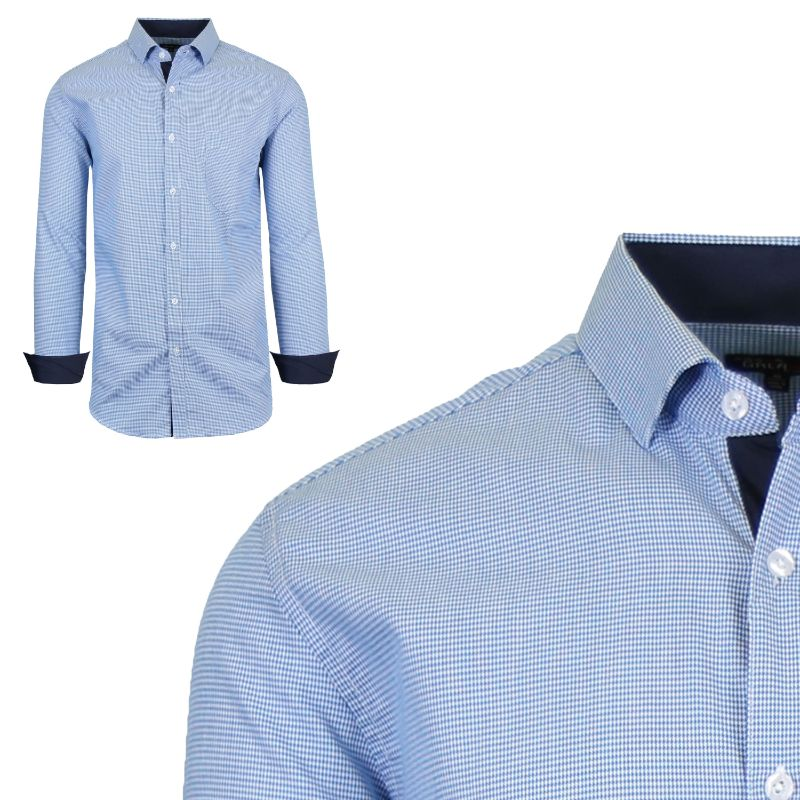 Mens Long Sleeve Slim-Fit Cotton Dress Shirts W/ Chest Pocket-Blue/White-Small-Daily Steals
