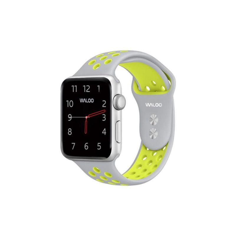 Waloo Breathable Sports Band For Apple Watch Series 1-5-Grey/Yellow-42/44mm-Daily Steals