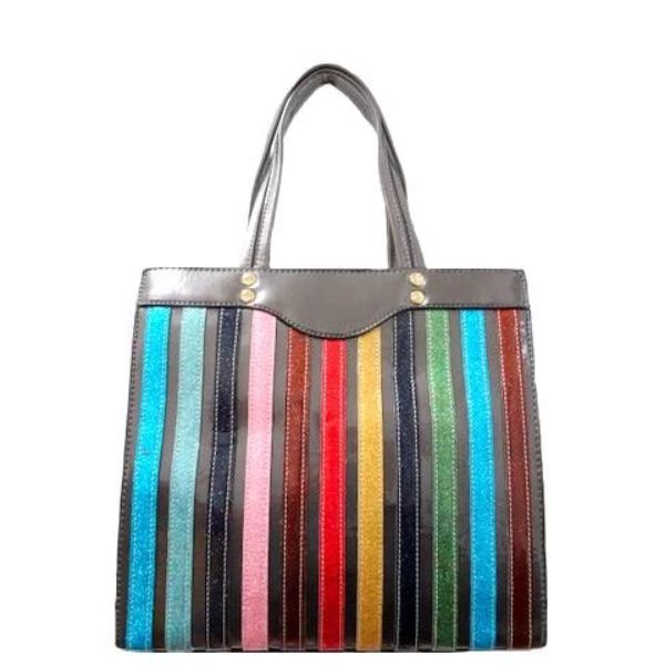 Colorful Stripe Satchel Handbag-Browze-Daily Steals