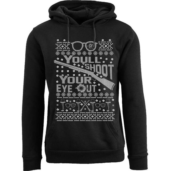 Women's Funny Christmas Pull Over Hoodie-You'll Shoot Your Eye Out - Black-M-Daily Steals