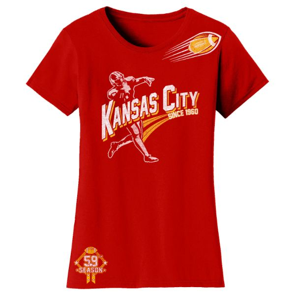 Women's Football Season T-Shirts-Kansas City - Red-S-Daily Steals
