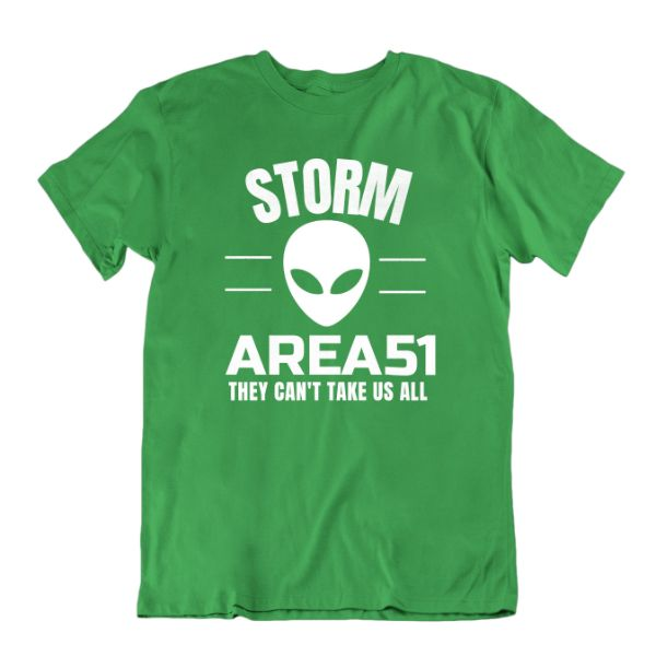 Storm Area 51 They Can't Take Us All T Shirt-Kelly Green-Small-Daily Steals
