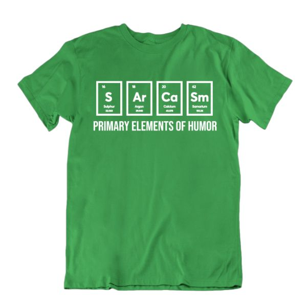 """Éléments primaires de l'humour"" T-shirt drôle de science-Kelly Green-Small-Daily Steals"