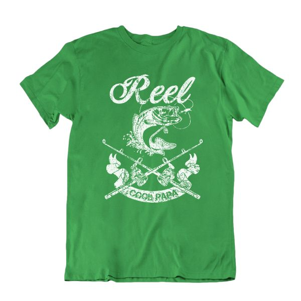 Reel Cool Papa' Funny Fishing T Shirt-Kelly Green-S-Daily Steals