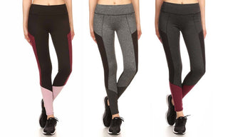 Women's Color Block Active Mesh-Insert Performance Leggings