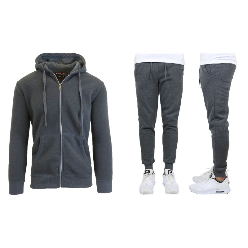 Men's Heavyweight Fleece Jogger and Heavyweight Fleece Hoodie Set-Charcoal-S-Daily Steals